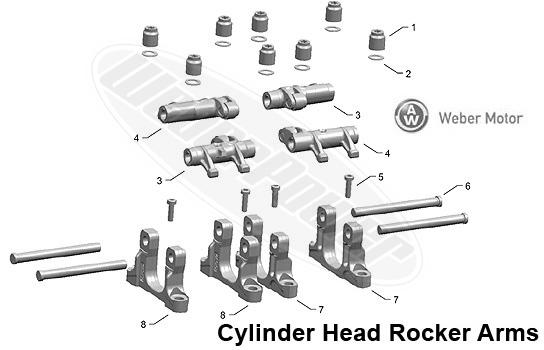polaris fs snowmobile na cylinder head rocker arms